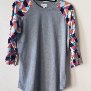 LuLaRoe Randy, M, gray with geo sleeve